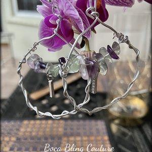 Custom made wire tourmaline earrings